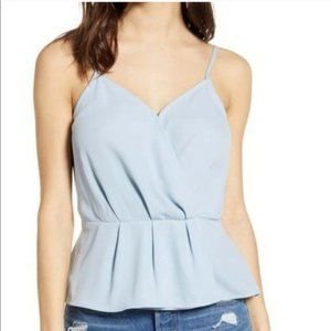NWOT Leith Sleeveless Faux Wrap Top Light Blue